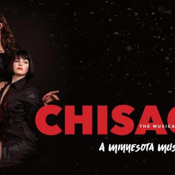 Roxie and Velma sit in a dark downfall of snow and gesture to the text - Chisago: The Musical - A Minnesota Musical Parody