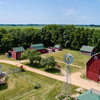 Farmamerica has a historic farm site with big red barn and farm animals