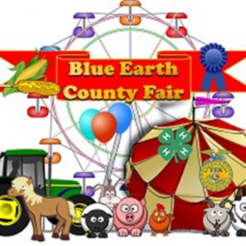 Blue Earth County Fair logo with farm animals, equipment and carnival rides