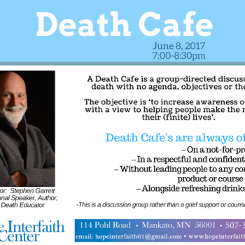 Death Cafe facilitated by Stephen Garrett at the Hope Interfaith Center in Mankato