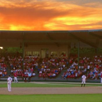 Moondogs game at Franklin Rogers Field at sunset
