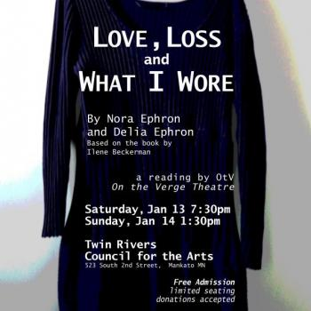This picture show the poster for the show Love, Loss and What I Wore poster, produced by On the Verge Theatre in January 2018