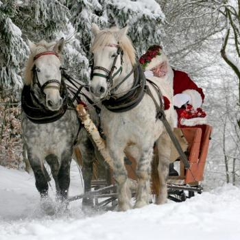 Horses with Santa in his wagon