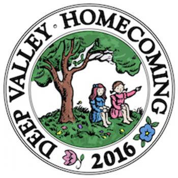 Deep Valley Homecoming 2016 logo with Betsy and Tacy under a tree