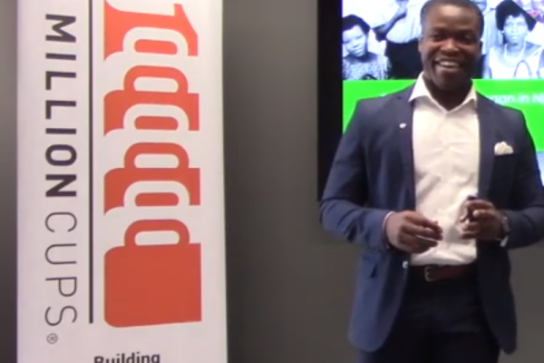 1Million Cups banner and David Bassey