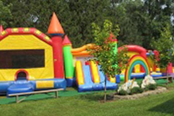 Brightly colored bouncy castle
