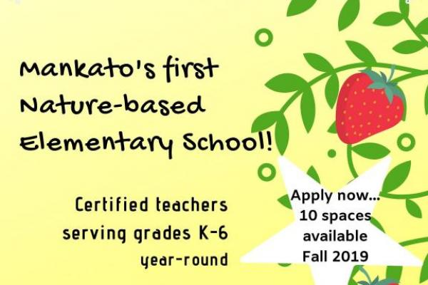 Mankato's first nature-based elementary school!  Certified teachers serving grades K-6.  10 spaces available for Fall 2019!  Contact us for more information: everberryschool@gmail.com